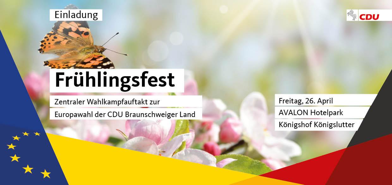 Frühlingsfest der CDU am 26.04.2019 ab 18.30 Uhr im AVALON Hotelpark Königshof, Königslutter
